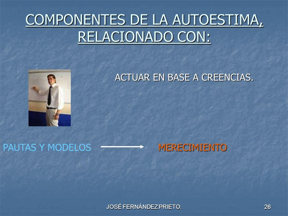 JOSÉ FERNÁNDEZ PRIETO.26 COMPONENTES DE LA AUTOESTIMA, RELACIONADO CON: ACTUAR EN BASE A CREENCIAS. PAUTAS Y MODELOSMERECIMIENTO