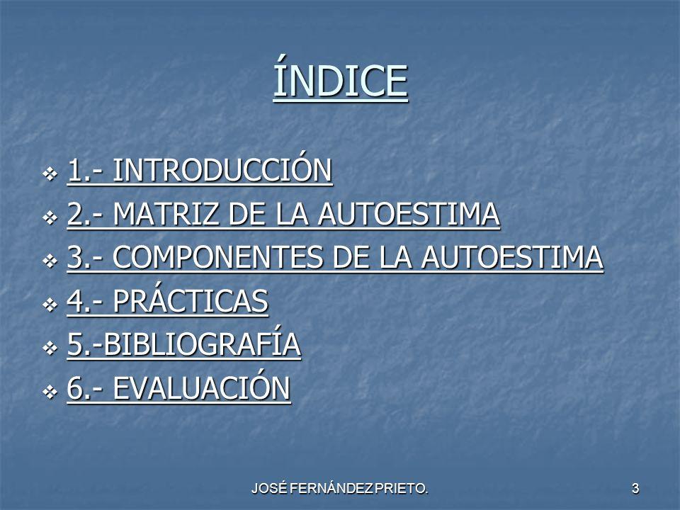 JOSÉ FERNÁNDEZ PRIETO.3 ÍNDICE 1.- INTRODUCCIÓN 1.- INTRODUCCIÓN 2.- MATRIZ DE LA AUTOESTIMA 2.- MATRIZ DE LA AUTOESTIMA 3.- COMPONENTES DE LA AUTOEST