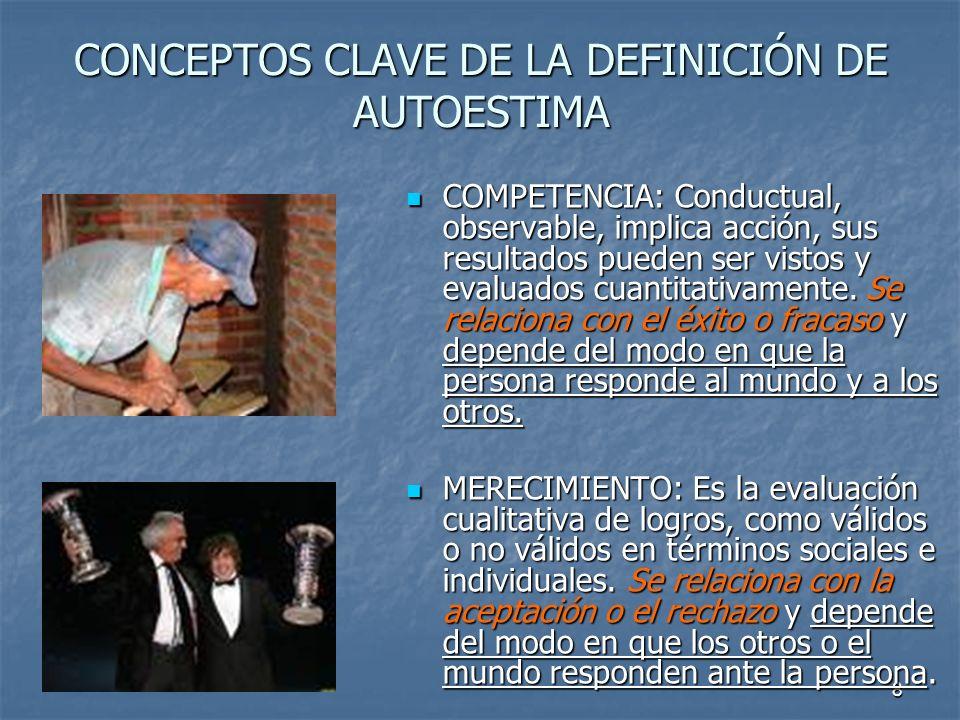 8 CONCEPTOS CLAVE DE LA DEFINICIÓN DE AUTOESTIMA COMPETENCIA: Conductual, observable, implica acción, sus resultados pueden ser vistos y evaluados cua