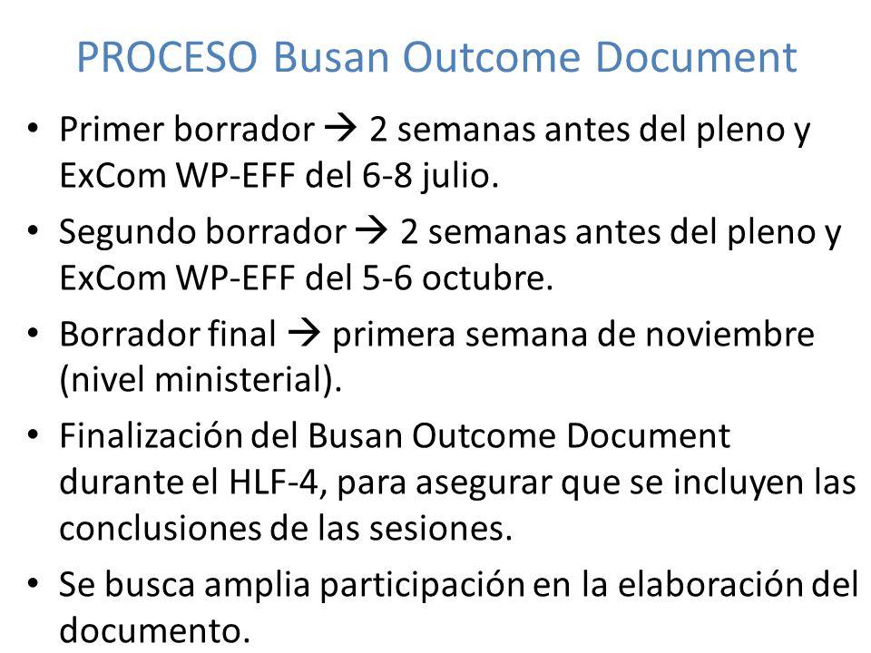 PROCESO Busan Outcome Document Primer borrador 2 semanas antes del pleno y ExCom WP-EFF del 6-8 julio. Segundo borrador 2 semanas antes del pleno y Ex