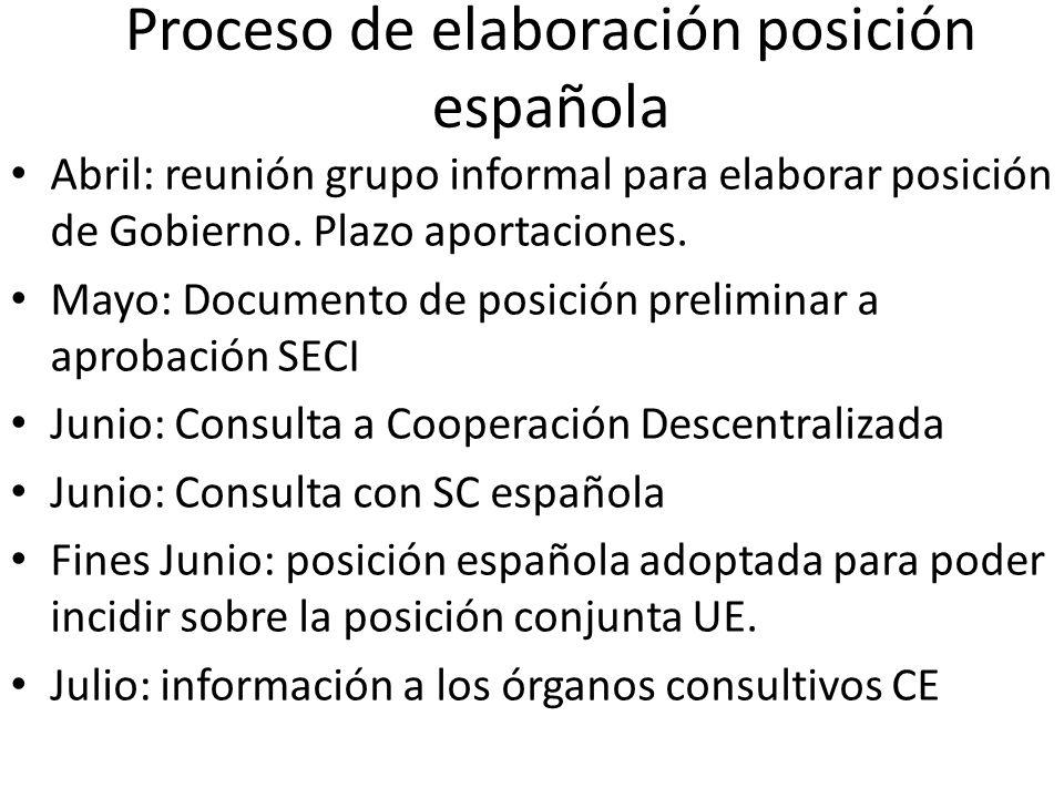 Proceso de elaboración posición española Abril: reunión grupo informal para elaborar posición de Gobierno. Plazo aportaciones. Mayo: Documento de posi