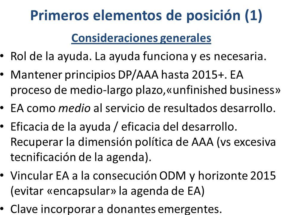 Primeros elementos de posición (1) Consideraciones generales Rol de la ayuda. La ayuda funciona y es necesaria. Mantener principios DP/AAA hasta 2015+