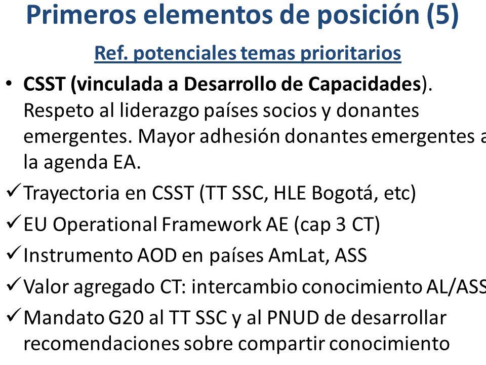 Primeros elementos de posición (5) Ref. potenciales temas prioritarios CSST (vinculada a Desarrollo de Capacidades). Respeto al liderazgo países socio