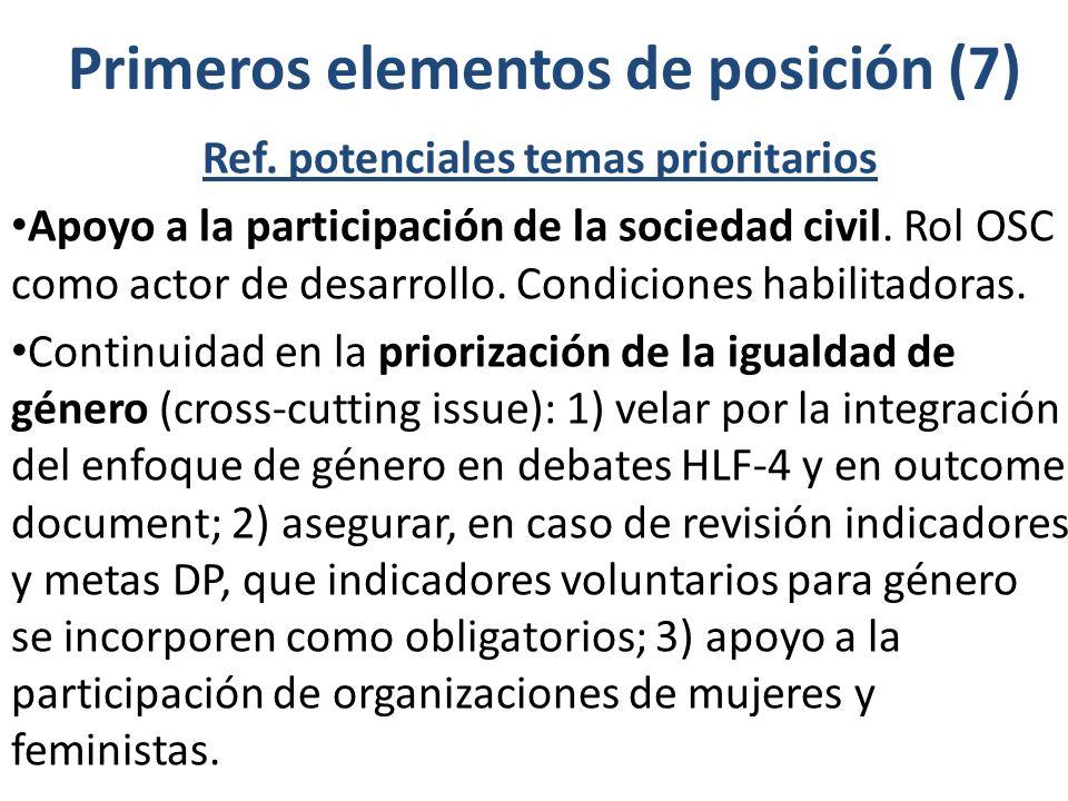 Primeros elementos de posición (7) Ref. potenciales temas prioritarios Apoyo a la participación de la sociedad civil. Rol OSC como actor de desarrollo