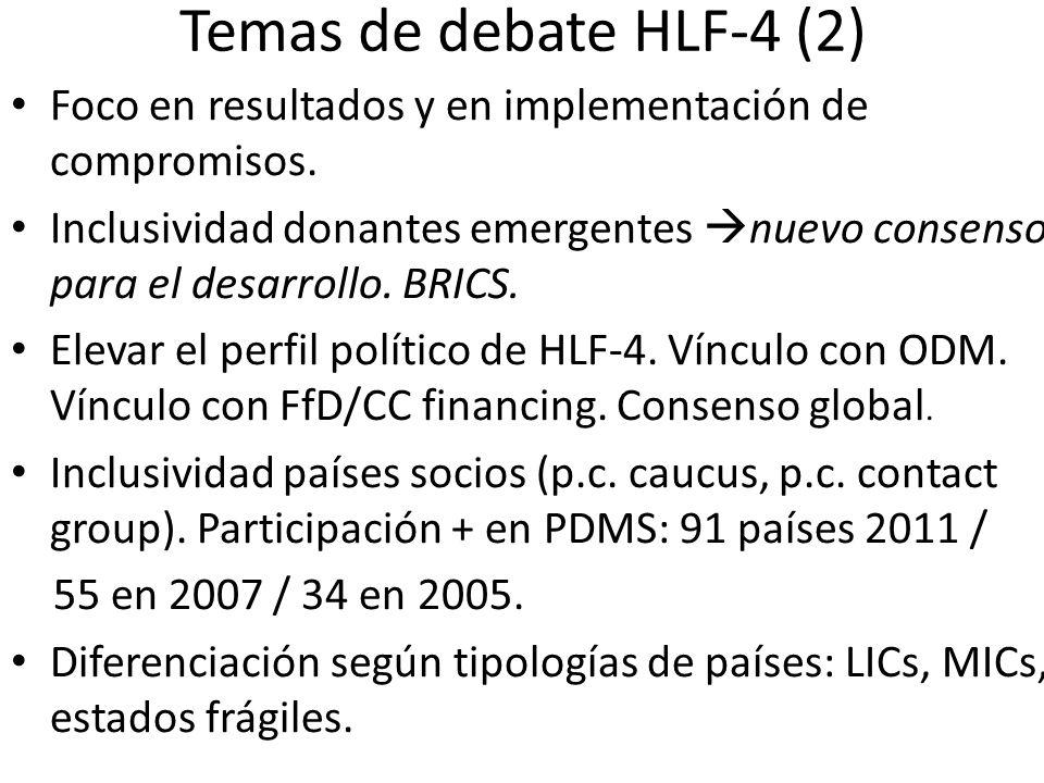 Temas de debate HLF-4 (2) Foco en resultados y en implementación de compromisos. Inclusividad donantes emergentes nuevo consenso para el desarrollo. B