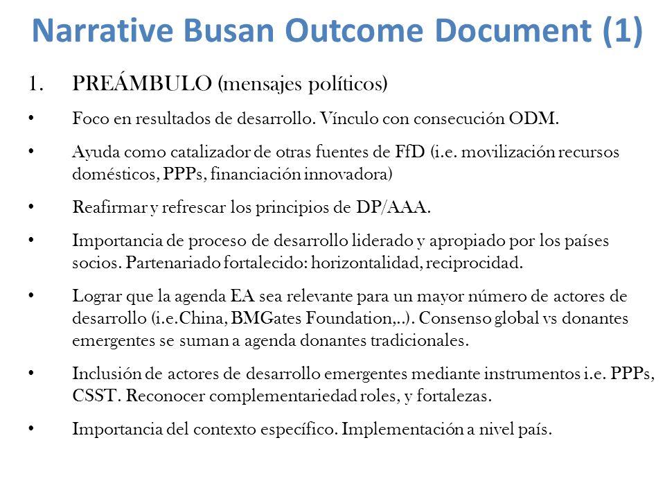 1.PREÁMBULO (mensajes políticos) Foco en resultados de desarrollo. Vínculo con consecución ODM. Ayuda como catalizador de otras fuentes de FfD (i.e. m