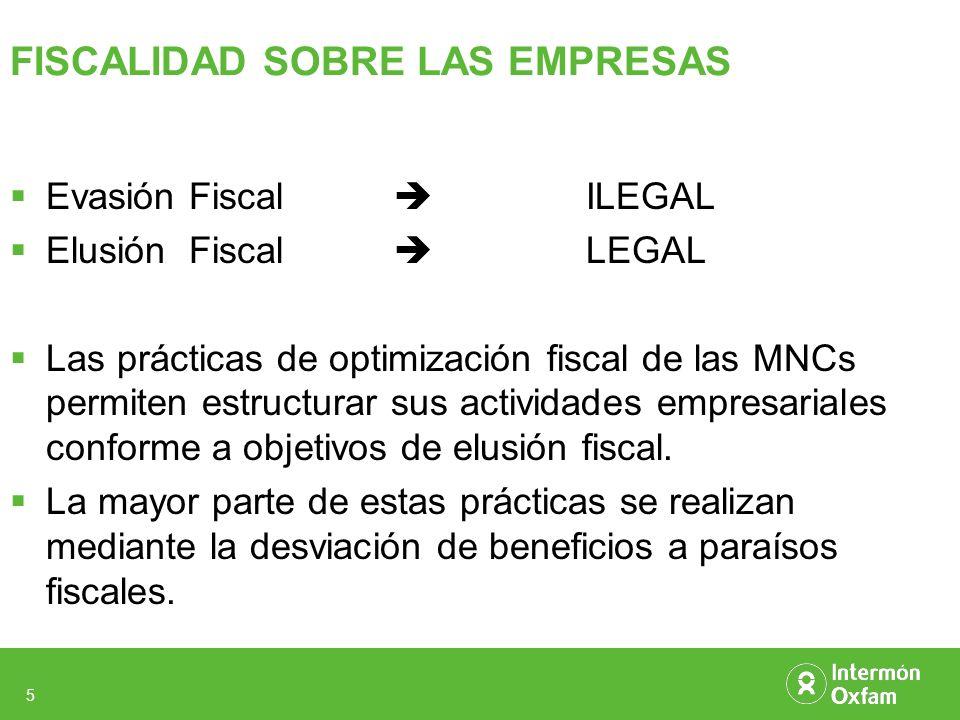 5 FISCALIDAD SOBRE LAS EMPRESAS Evasión Fiscal ILEGAL Elusión Fiscal LEGAL Las prácticas de optimización fiscal de las MNCs permiten estructurar sus actividades empresariales conforme a objetivos de elusión fiscal.
