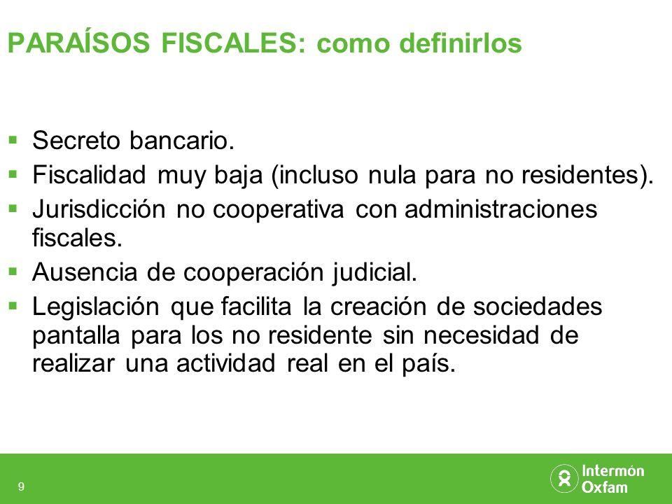 9 PARAÍSOS FISCALES: como definirlos Secreto bancario. Fiscalidad muy baja (incluso nula para no residentes). Jurisdicción no cooperativa con administ