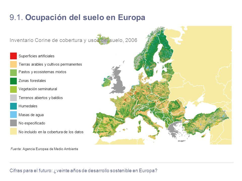 Cifras para el futuro: ¿veinte años de desarrollo sostenible en Europa? 9.1. Ocupación del suelo en Europa Fuente: Agencia Europea de Medio Ambiente I