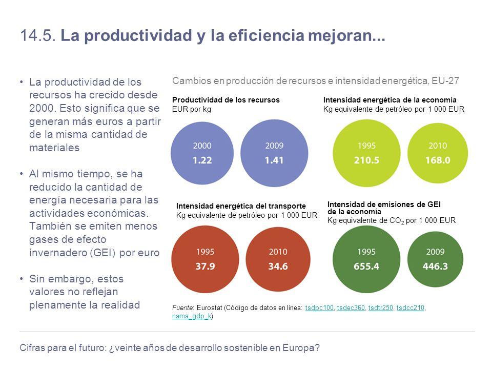 Cifras para el futuro: ¿veinte años de desarrollo sostenible en Europa? 14.5. La productividad y la eficiencia mejoran... La productividad de los recu