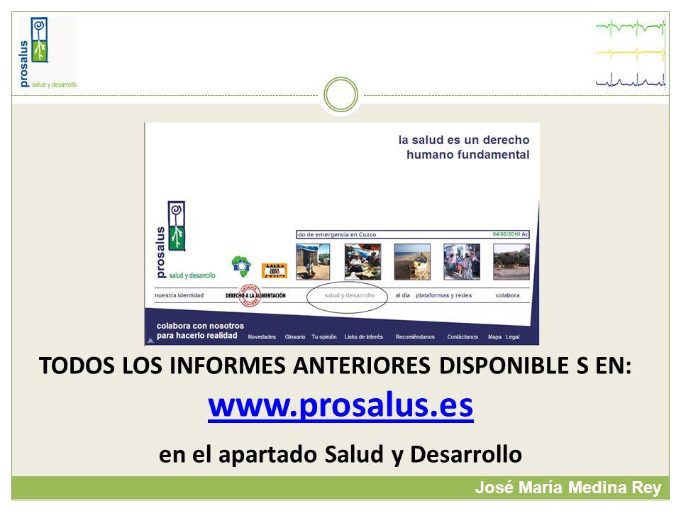 José María Medina Rey TODOS LOS INFORMES ANTERIORES DISPONIBLE S EN: www.prosalus.es en el apartado Salud y Desarrollo