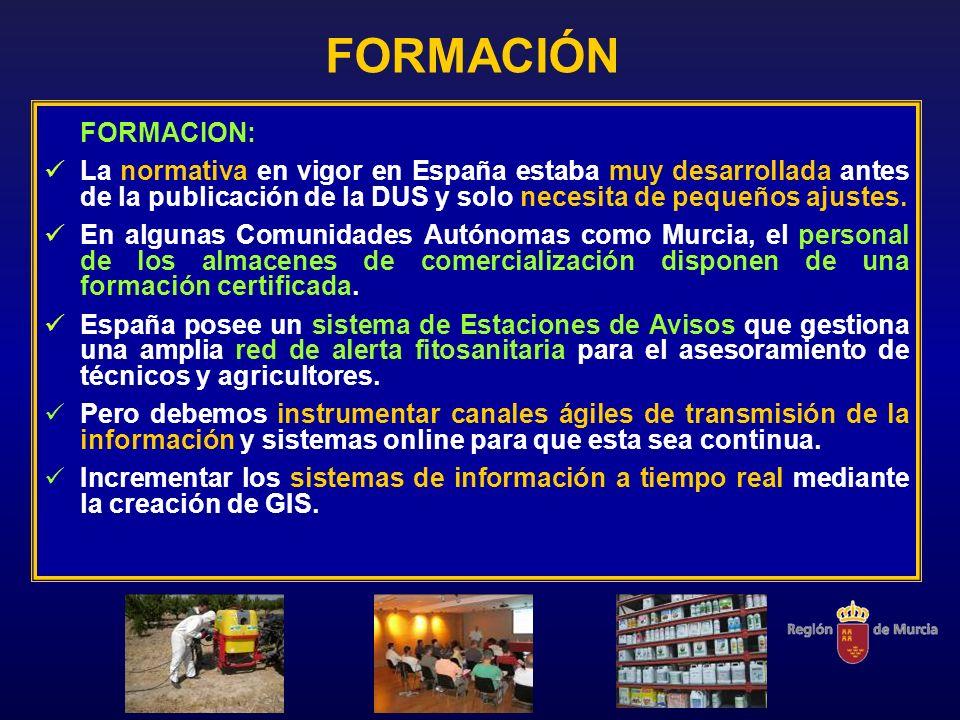 FORMACIÓN FORMACION: La normativa en vigor en España estaba muy desarrollada antes de la publicación de la DUS y solo necesita de pequeños ajustes. En