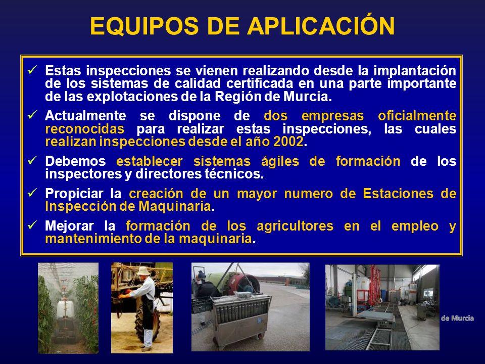 EQUIPOS DE APLICACIÓN Estas inspecciones se vienen realizando desde la implantación de los sistemas de calidad certificada en una parte importante de