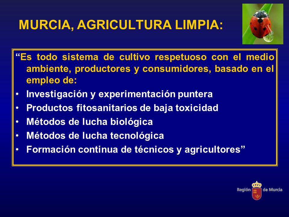 MURCIA, AGRICULTURA LIMPIA: Es todo sistema de cultivo respetuoso con el medio ambiente, productores y consumidores, basado en el empleo de: Investiga
