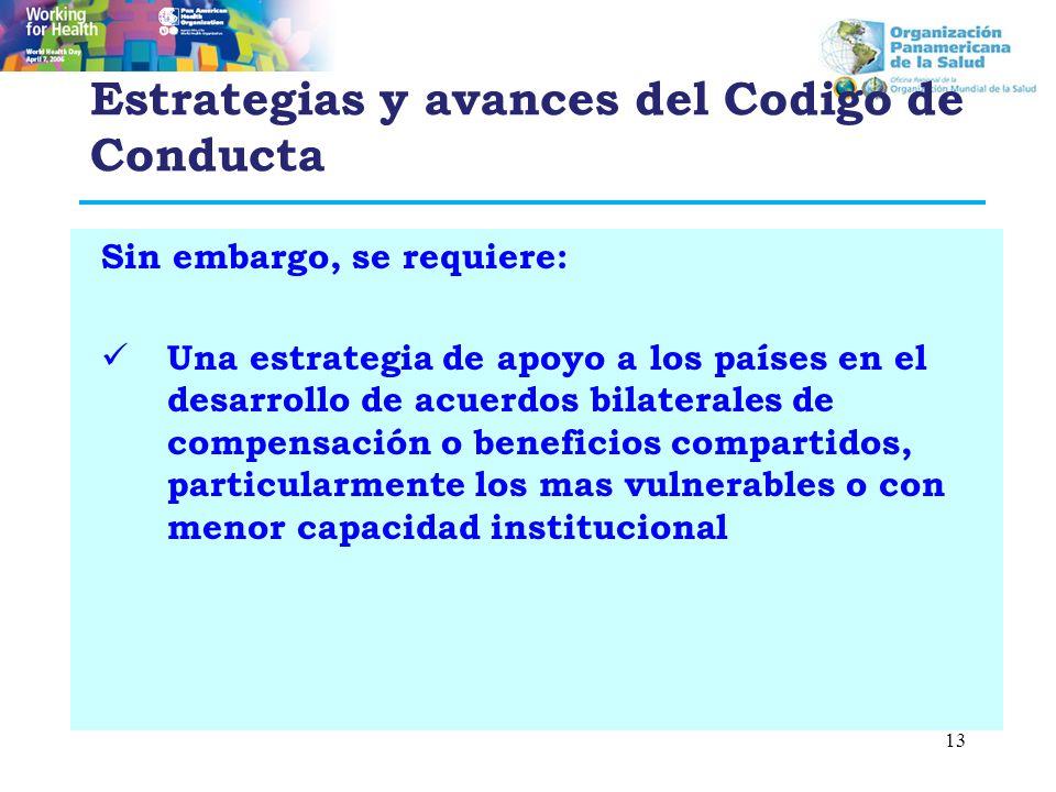 Estrategias y avances del Codigo de Conducta Sin embargo, se requiere: Una estrategia de apoyo a los países en el desarrollo de acuerdos bilaterales d