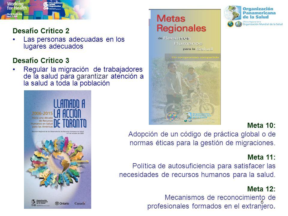 6 Desafío Crítico 2 Las personas adecuadas en los lugares adecuados Desafío Crítico 3 Regular la migración de trabajadores de la salud para garantizar atención a la salud a toda la población Meta 10: Adopción de un código de práctica global o de normas éticas para la gestión de migraciones.