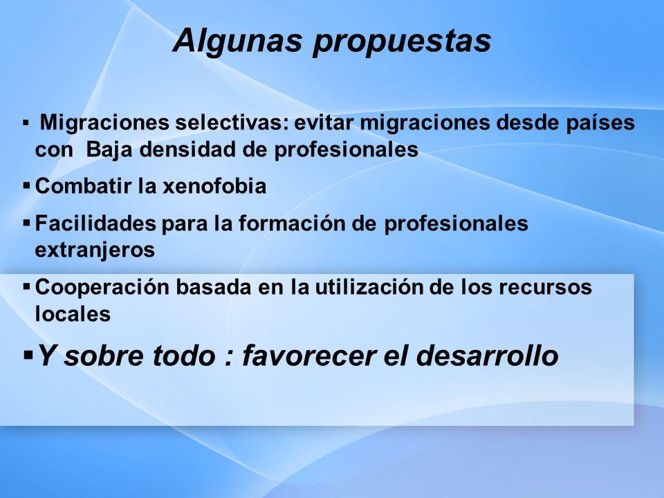 Algunas propuestas Migraciones selectivas: evitar migraciones desde países con Baja densidad de profesionales Combatir la xenofobia Facilidades para la formación de profesionales extranjeros Cooperación basada en la utilización de los recursos locales Y sobre todo : favorecer el desarrollo