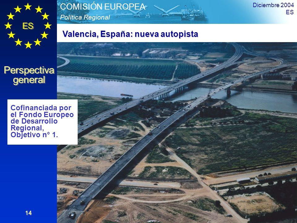 ES Perspectiva general Perspectiva general Política Regional COMISIÓN EUROPEA Diciembre 2004 ES 14 Valencia, España: nueva autopista Cofinanciada por