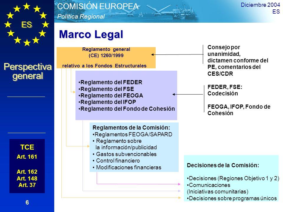 ES Perspectiva general Perspectiva general Política Regional COMISIÓN EUROPEA Diciembre 2004 ES 6 TCE Art. 161 Art. 162 Art. 148 Art. 37 Reglamento ge