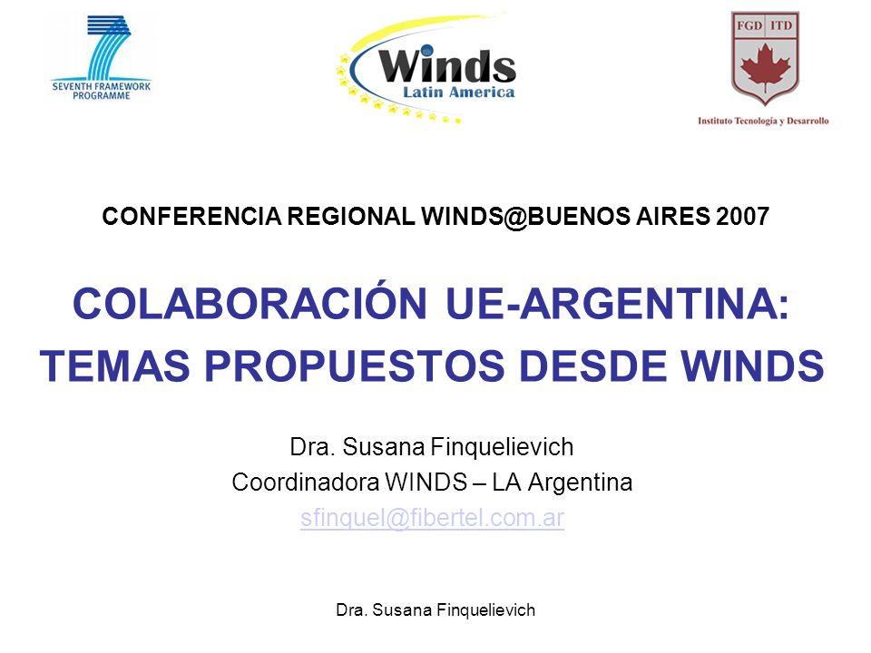 Dra. Susana Finquelievich CONFERENCIA REGIONAL WINDS@BUENOS AIRES 2007 COLABORACIÓN UE-ARGENTINA: TEMAS PROPUESTOS DESDE WINDS Dra. Susana Finquelievi