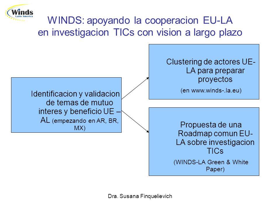 Dra. Susana Finquelievich WINDS: apoyando la cooperacion EU-LA en investigacion TICs con vision a largo plazo Identificacion y validacion de temas de