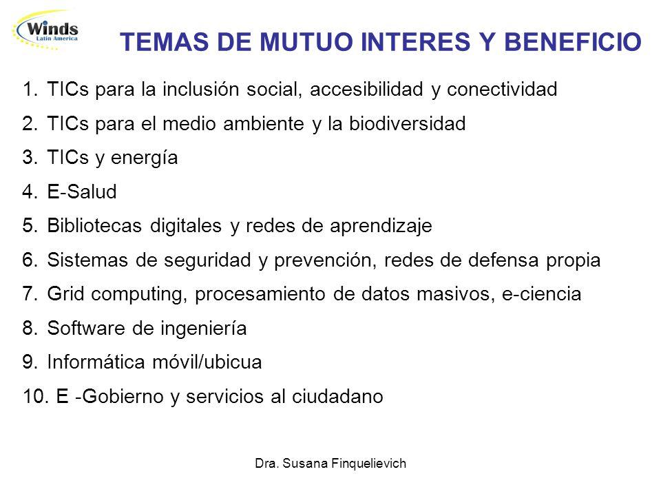 Dra. Susana Finquelievich TEMAS DE MUTUO INTERES Y BENEFICIO 1.TICs para la inclusión social, accesibilidad y conectividad 2.TICs para el medio ambien