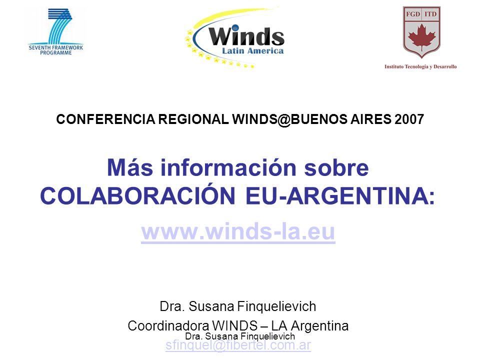 Dra. Susana Finquelievich CONFERENCIA REGIONAL WINDS@BUENOS AIRES 2007 Más información sobre COLABORACIÓN EU-ARGENTINA: www.winds-la.eu Dra. Susana Fi