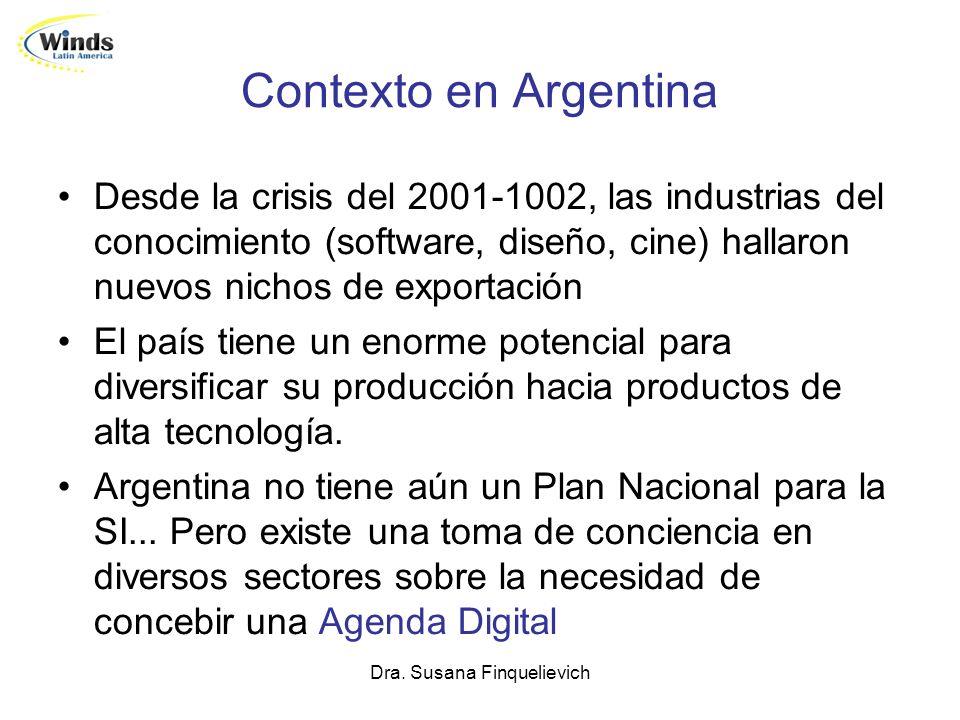 Dra. Susana Finquelievich Contexto en Argentina Desde la crisis del 2001-1002, las industrias del conocimiento (software, diseño, cine) hallaron nuevo