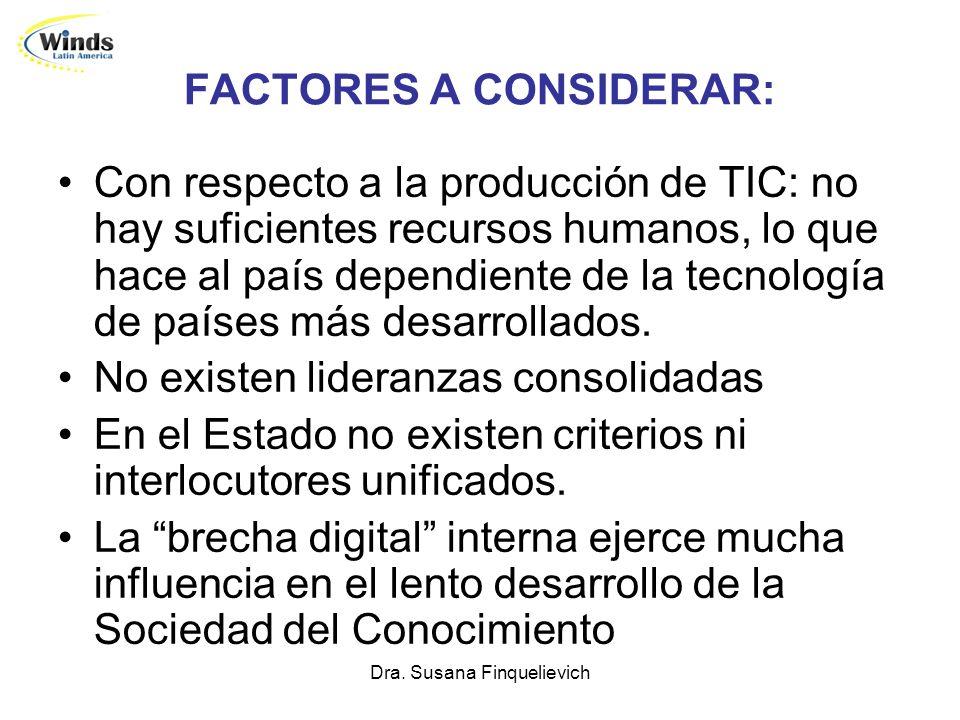 Dra. Susana Finquelievich FACTORES A CONSIDERAR: Con respecto a la producción de TIC: no hay suficientes recursos humanos, lo que hace al país dependi