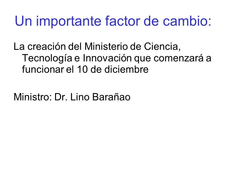 Un importante factor de cambio: La creación del Ministerio de Ciencia, Tecnología e Innovación que comenzará a funcionar el 10 de diciembre Ministro: