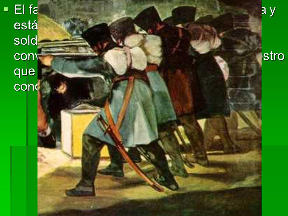 El farol situado en el suelo ilumina la escena y está parcialmente oculto por la masa de los soldados franceses, anónimos, idénticos, convertidos en u