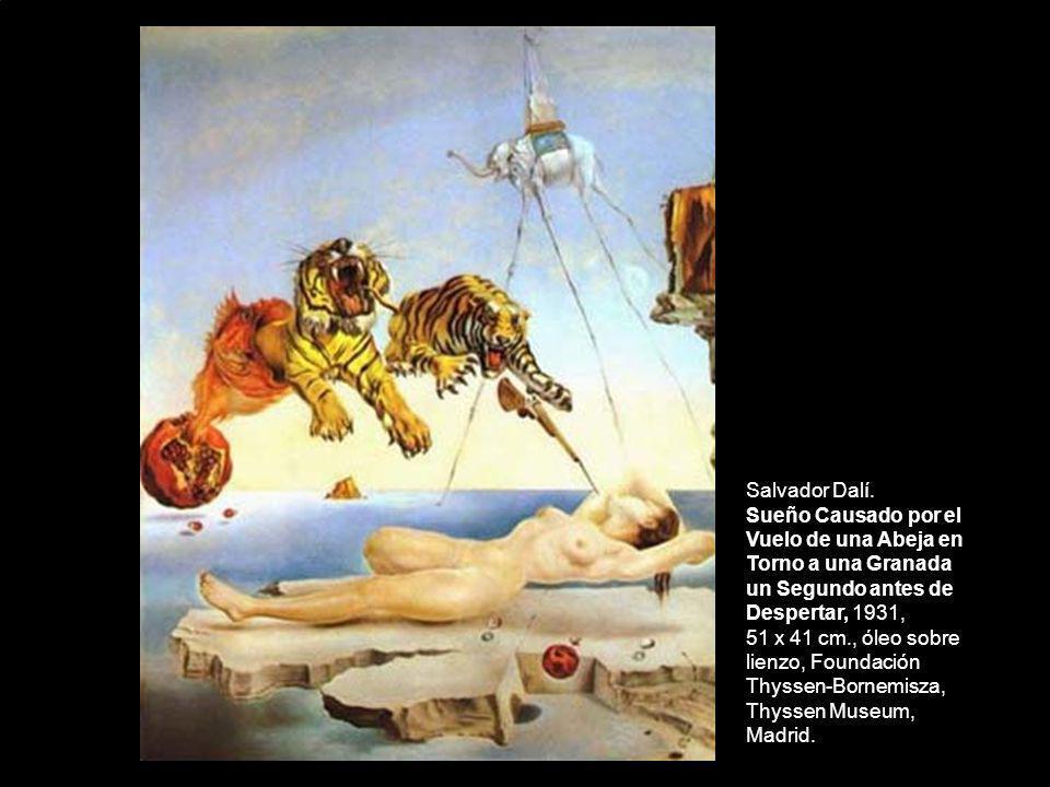 Salvador Dalí. Sueño Causado por el Vuelo de una Abeja en Torno a una Granada un Segundo antes de Despertar, 1931, 51 x 41 cm., óleo sobre lienzo, Fou