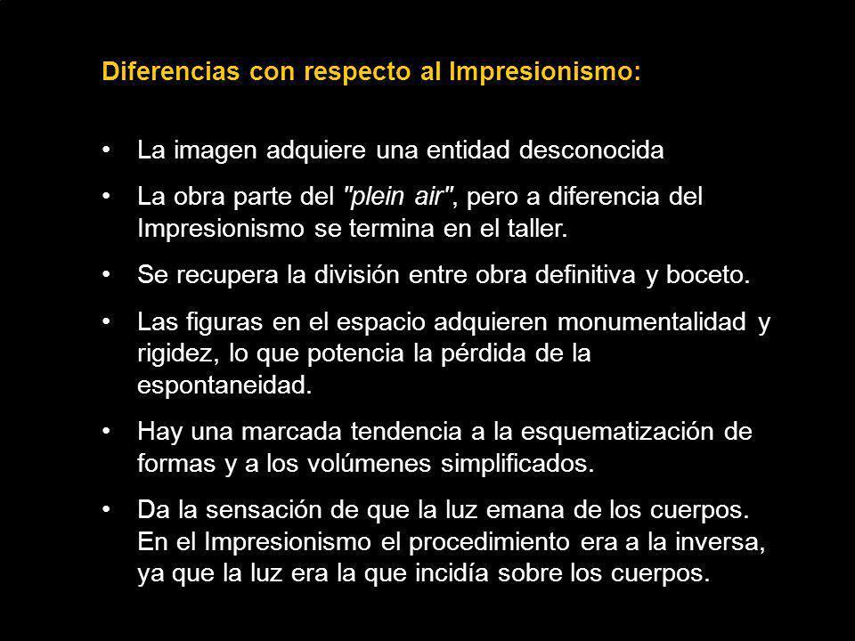 Diferencias con respecto al Impresionismo: La imagen adquiere una entidad desconocida La obra parte del