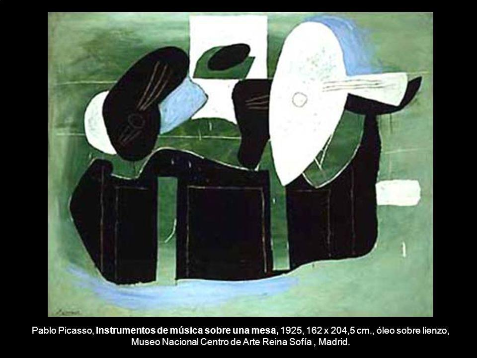 Pablo Picasso, Instrumentos de música sobre una mesa, 1925, 162 x 204,5 cm., óleo sobre lienzo, Museo Nacional Centro de Arte Reina Sofía, Madrid.