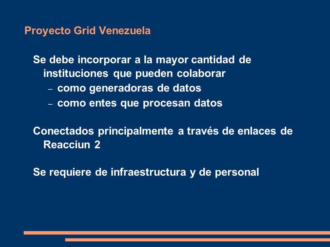 Proyecto Grid Venezuela Se debe incorporar a la mayor cantidad de instituciones que pueden colaborar – como generadoras de datos – como entes que procesan datos Conectados principalmente a través de enlaces de Reacciun 2 Se requiere de infraestructura y de personal