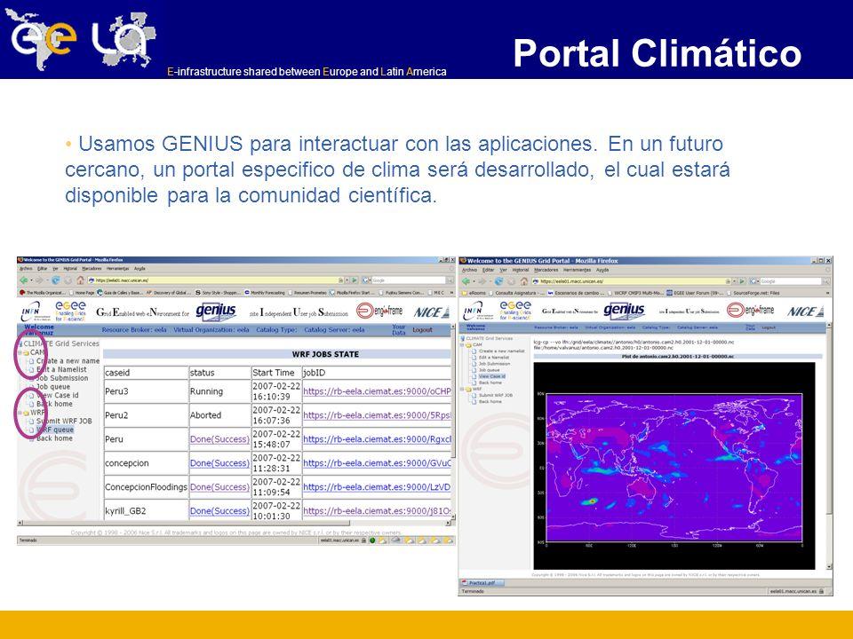 E-infrastructure shared between Europe and Latin America Portal Climático Usamos GENIUS para interactuar con las aplicaciones. En un futuro cercano, u