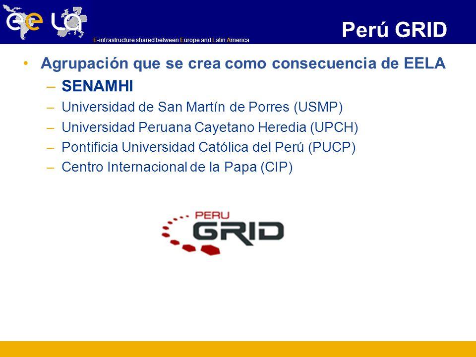 E-infrastructure shared between Europe and Latin America Perú GRID Agrupación que se crea como consecuencia de EELA –SENAMHI –Universidad de San Martí