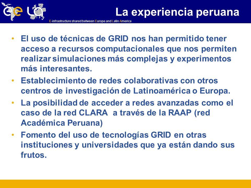 E-infrastructure shared between Europe and Latin America La experiencia peruana El uso de técnicas de GRID nos han permitido tener acceso a recursos c