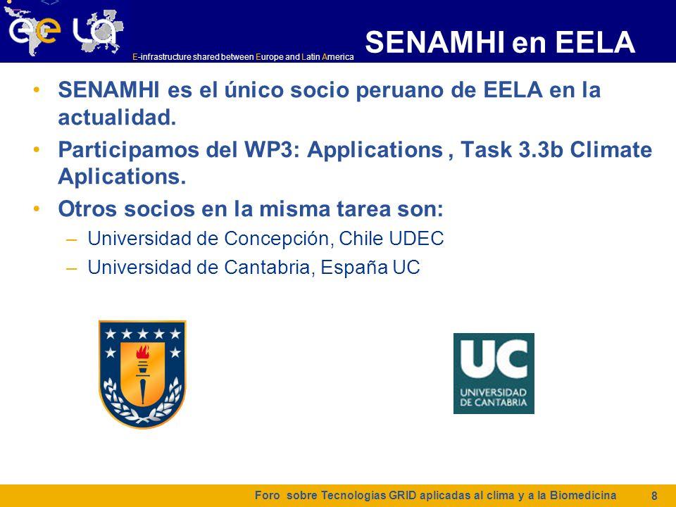 E-infrastructure shared between Europe and Latin America SENAMHI en EELA SENAMHI es el único socio peruano de EELA en la actualidad. Participamos del