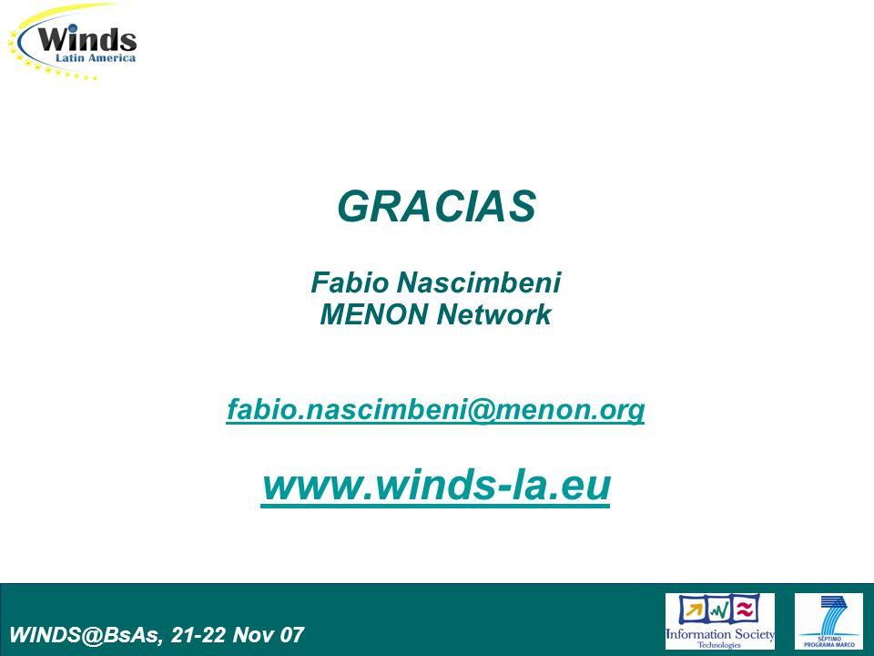 WINDS@BsAs, 21-22 Nov 07 GRACIAS Fabio Nascimbeni MENON Network fabio.nascimbeni@menon.org www.winds-la.eu fabio.nascimbeni@menon.org www.winds-la.eu