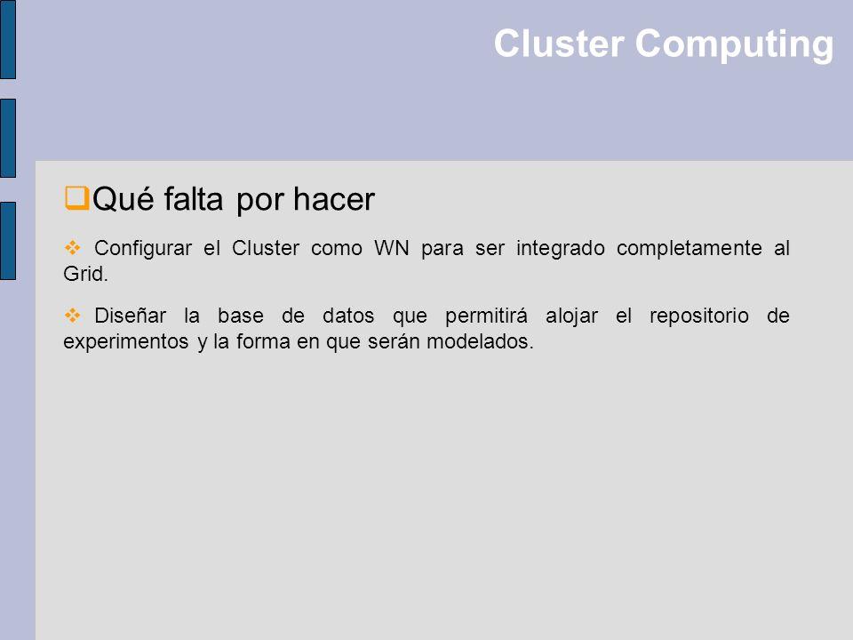 Cluster Computing Qué falta por hacer Configurar el Cluster como WN para ser integrado completamente al Grid. Diseñar la base de datos que permitirá a