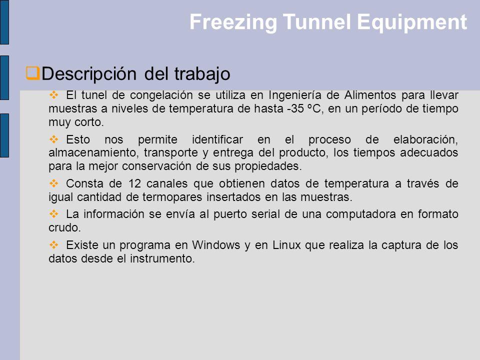 Freezing Tunnel Equipment Descripción del trabajo El tunel de congelación se utiliza en Ingeniería de Alimentos para llevar muestras a niveles de temp
