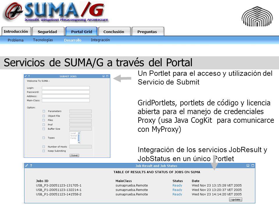 Introducción SeguridadPortal GridConclusiónPreguntas Servicios de SUMA/G a través del Portal Un Portlet para el acceso y utilización del Servicio de S