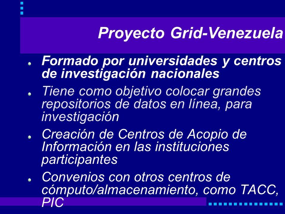 Proyecto Grid-Venezuela Formado por universidades y centros de investigación nacionales Tiene como objetivo colocar grandes repositorios de datos en l