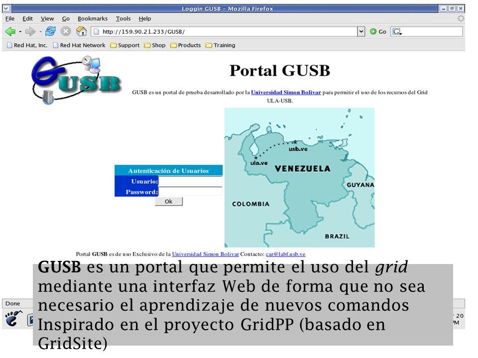¿Qué es GUSB? GUSB es un portal que permite el uso del grid mediante una interfaz Web de forma que no sea necesario el aprendizaje de nuevos comandos
