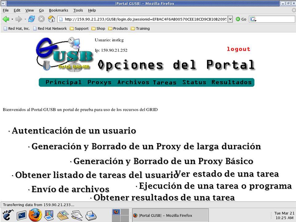 Autenticación de un usuario Autenticación de un usuario Generación y Borrado de un Proxy de larga duración Generación y Borrado de un Proxy de larga d