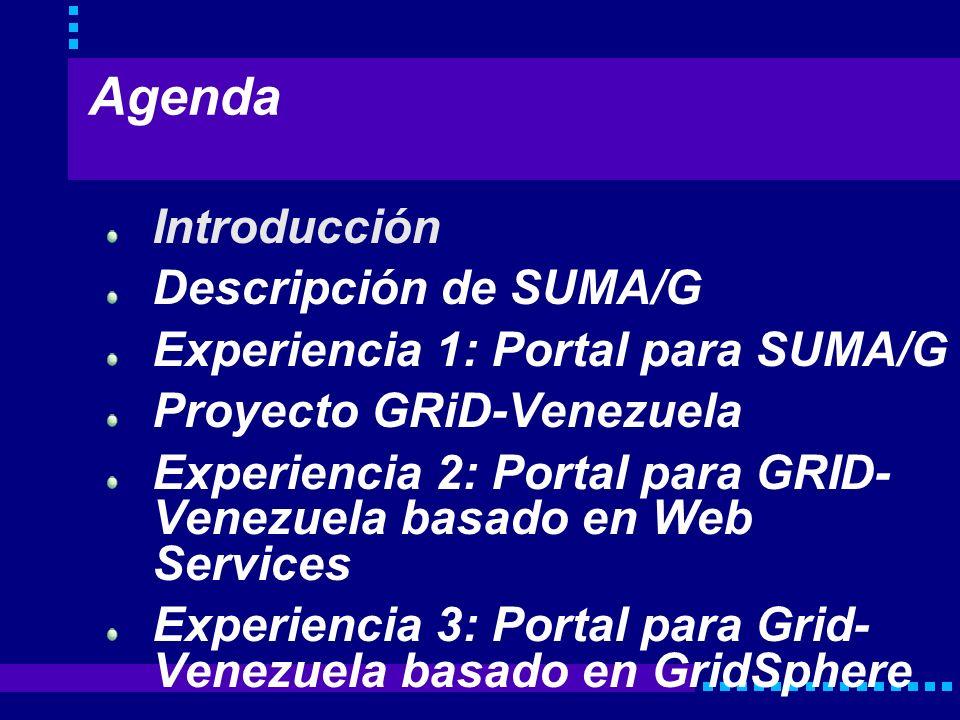 Agenda Introducción Descripción de SUMA/G Experiencia 1: Portal para SUMA/G Proyecto GRiD-Venezuela Experiencia 2: Portal para GRID- Venezuela basado