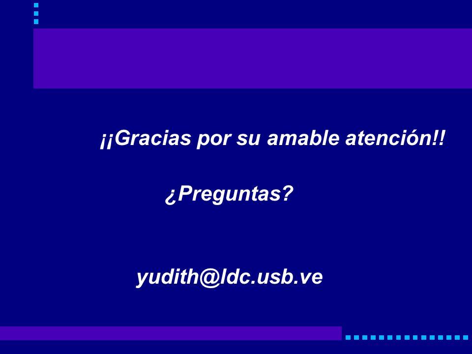 ¡¡Gracias por su amable atención!! ¿Preguntas? yudith@ldc.usb.ve