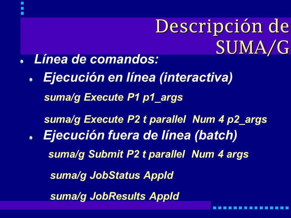 Línea de comandos: Ejecución en línea (interactiva) suma/g Execute P1 p1_args suma/g Execute P2 t parallel Num 4 p2_args Ejecución fuera de línea (batch) suma/g Submit P2 t parallel Num 4 args suma/g JobStatus AppId suma/g JobResults AppId Descripción de SUMA/G