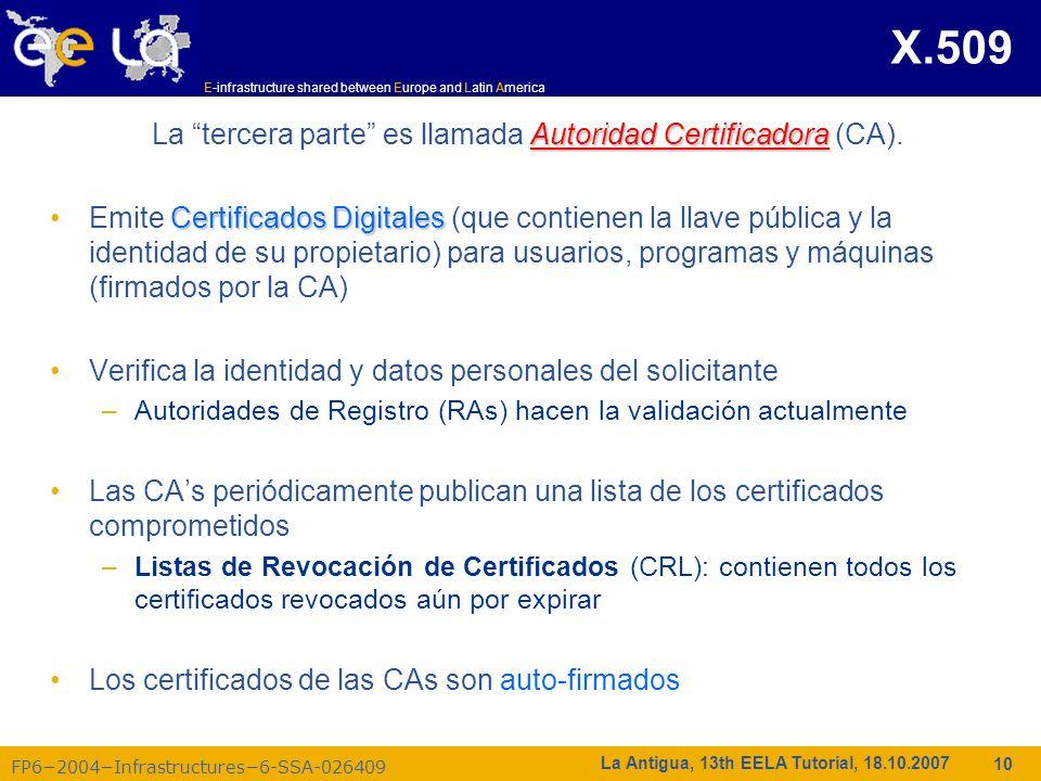 E-infrastructure shared between Europe and Latin America FP62004Infrastructures6-SSA-026409 10 La Antigua, 13th EELA Tutorial, 18.10.2007 X.509 Autori